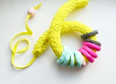 Yellow Necklace/Chunky statement necklace/Colorful by IKKX on Etsy