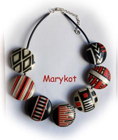 Necklace from polymer clay, done in the style of Angela Garrod, from her workshop. By Marykot