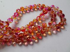50 x Transparent Mottled Effect Glass Beads - Round - 8mm - Pink & Yellow