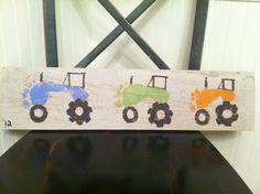 Tractor foot prints of my 3 boys. Got the idea from another pin.