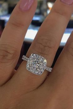 Engagement Ring That Was Created For A Special Bride ❤️ engagement ring white gold halo diamond pave band ❤️ See more: http://www.weddingforward.com/engagement-ring/ #wedding #bride #engagementring