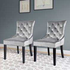 CorLiving Antonio Accent Chair - Gray - Set of 2 | from hayneedle.com