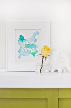 Watercolor Phrase Wall Art DIY (click through for tutorial)