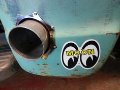 Through the fender exhaust tip idea with custom riveted star burst trim ring and a traditional Moon Eyes decal for good measure. Rat Rod Pickup, Old Pickup Trucks, Hot Rod Trucks, Big Trucks, Chevy Trucks, Dually Trucks, Truck Drivers, Truck Paint, Shop Truck