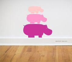 Hippos Wall Decal set of 3. $22.00, via Etsy. #pinhonest