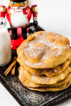 Often served during the Christmas and New Years holidays, this Mexican Bunuelos recipe makes the perfect fried dough covered in cinnamon sugar! Mexican Sweet Breads, Mexican Dishes, Mexican Food Recipes, Mexican Desserts, Healthy Recipes, Mexican Cookies, Mexican Bread, Drink Recipes, Dinner Recipes