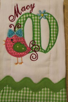 Personalized and appliqued burp cloth for by AppliquesByGranjan, $17.00
