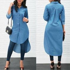 Women's Blue Jeans Denim T-Shirt Long Sleeve Casual Loose Shirt Mini Dress Latest African Fashion Dresses, Women's Fashion Dresses, Mode Outfits, Chic Outfits, Girl Outfits, Stylish Dresses, Casual Dresses, Maxi Dresses, Ladies Dresses