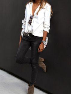 {Boulot} Une chemise piquée à Monsieur, un jean slim-noir et une paire de bottine en daim. Une tenue idéal pour aller bosser !