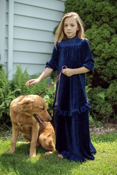 a14f02b8e4a Royal Maxi Velour Dress With Ruffle - Kids Maxis - Kids at The Lingerie Shop  New York
