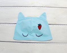 Knitwear – Cat cap with ears, children, aqua, strawberry – a unique product by ARTandCAT on DaWanda