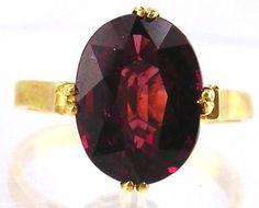 Garnet  Ring 14kt Yellow Gold , Size 6 1/2