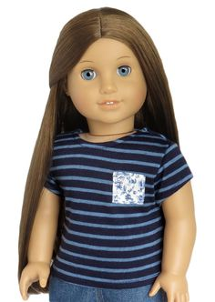White Navy Purple Gray Pink Yellow Green Red Tee T-Shirt fits American Girl Doll