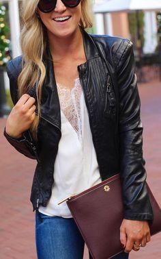 #winter #fashion /  Black Jacket / White Lace Blouse / Leather Clutch