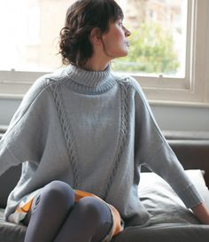 Free Knitting Pattern for Sasha Sweater - This oversized pullover by Debbie Bliss is four knit pieces with minimal shaping, mostly stockinette with cable detail. Stitches are picked up for the turtleneck collar but you could leave it off. Pattern seems easy to me. S/M, M/L