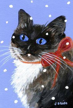 Christmas Siamese Painting