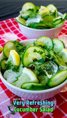 Very Refreshing Cucumber Salad | giverecipe.com | #salad #cucumber #summer #refreshing #healthy #diet