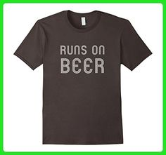 Mens Runs On Beer Funny Running Drinking Retro Runner T Shirt Small Asphalt - Food and drink shirts (*Amazon Partner-Link)