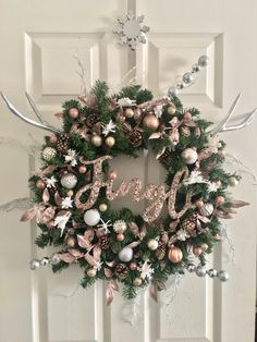 Made my very own rose gold Christmas wreath. ✨  #ChristmasDecor #christmas #rosegold #christmaswreath #diywreath #christmaswreathideas #rosegoldchristmas