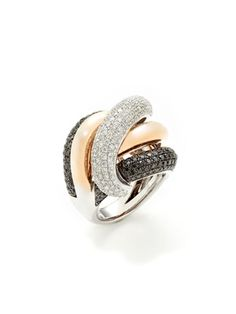 Odelia Jewelry Two Tone Diamond Overlapping Band Ring