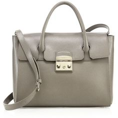 Furla Metropolis Leather Satchel ($510) ❤ liked on Polyvore featuring bags, handbags, apparel & accessories, brown leather satchel, leather satchel, satchel purses, furla handbags and leather satchel handbags