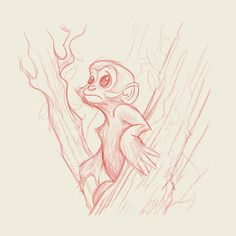 Red pencil study of a Francois Leaf monkey. Dave Mottram