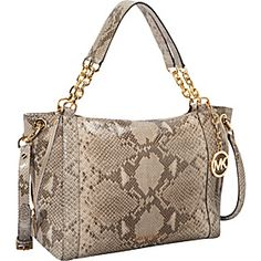 MICHAEL Michael Kors Stanthorpe Large Satchel-Embossed Python - Angora - via eBags.com!