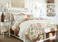 Our Bedroom also has a white theme but with more of a seaside blue feel Small Master Bedroom, Cozy Bedroom, Bedroom Decor, Bedroom Ideas, Under Bed Basket, Neutral Bedding, Guest Room Decor, Linen Duvet, Bed Storage