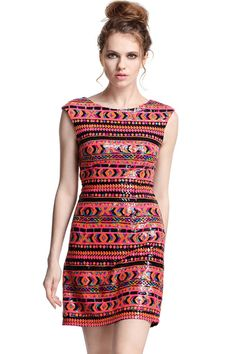 Ethnic Sequined Dress #romwepartydress