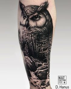 Great blackwork forest and owl tattoo idea Regram via @kulttattoofest