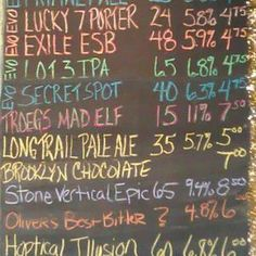 The famous chalkboard of brews along with incredibly tasty food!