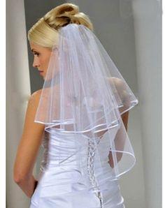 2 Tier Wedding Veil Ribbon Edge