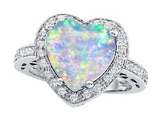 Original Star K(tm) Large 10mm Heart Shape Created Opal Engagement Wedding Ring in 925 Sterling Silver Size 8