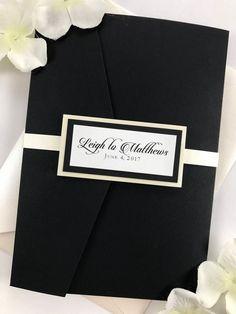 3d28aa404d4f Classic Black and Ivory Cream Wedding Invitation Set RSVP