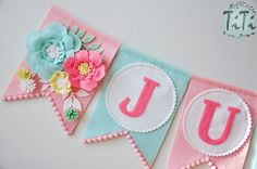 Personalized felt baby pennant banner name Custom Boho decor