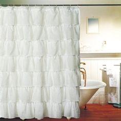 Gee Di Moda Gypsy Ruffled Shower Curtain White wide x long Image 3 of 5 White Ruffle Shower Curtain, Cream Shower Curtains, White Shower, Fabric Shower Curtains, Bathroom Shower Curtains, Panel Curtains, Master Bathroom, Bath Shower, Easy Curtains
