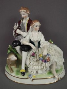 Antique Unterweissbach German Porcelain Dresden Lace Lady Lamb Group Figurine