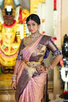 Lots Of Eye Pleasing Details At This Wedding Extraordinaire Wedding Saree Blouse Designs, Pattu Saree Blouse Designs, Half Saree Designs, Fancy Blouse Designs, South Indian Wedding Saree, Indian Bridal, Saree Color Combinations, Wedding Silk Saree, Bridal Sarees