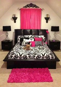 Bedroom Idea. Different colors though! Maybe sea green or mint or turquoise wit the black and white. Or maybe even with brown and white...
