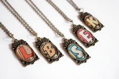 Recycled vintage comic book BRIDESMAID initial necklaces!