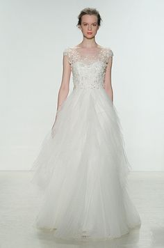 Beautiful tulle wedding dress by Christos, Spring 2015
