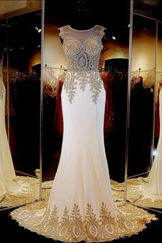 Glamorous Illusion Cap Sleeve Prom Dress With Beadings Appliques_High Quality Wedding & Evening Prom Dresses at Factory Price-27DRESS.COM