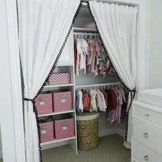 346 Living: Sweet baby girl's nursery closet design with Ikea curtains replacing. 346 Living: Sweet baby girl's nursery closet design with Ikea curtains replacing closet doors . Ikea Curtains, Closet Curtains, Closet Bedroom, Girls Bedroom, Bedroom Curtains, Trendy Bedroom, Girl Curtains, Bedroom Storage, Closet Storage