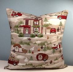 Handmade Christmas pillow cover features vintage cars, trucks, campers and home. Woodland animals and snowmen add to its charm. The pillow back