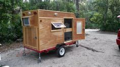 Frugal Way mini camping trailer back view.  Frugal Camping outdoors. Picture taken at Faver-Dykes FL State Park.
