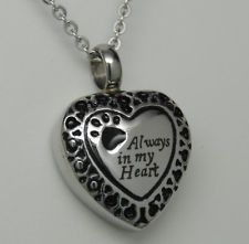 PAW CREMATION JEWELRY PAW URN NECKLACE PET URN ALWAYS IN MY HEART URN MEMORIAL