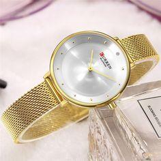 CURREN 9029 Women Watches Top Brand Luxury Ladies Watch Blue ... Elegant Watches, Casual Watches, Women's Dress Watches, Orange Leather, Watch Brands, Gift For Lover, Quartz Watch, Gifts For Women, Minimalist