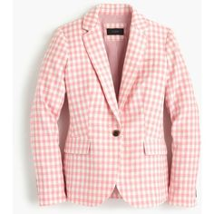 J.Crew Petite Campbell Blazer ($210) ❤ liked on Polyvore featuring outerwear, jackets, blazers, blazer, petite, pink jacket, light weight jacket, slim blazer jacket, j crew jacket and pink blazer jacket