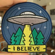 "This patch features our UFO ""I Believe"" design (just like our enamel pin). - Iron On - 3.5"" Across More"