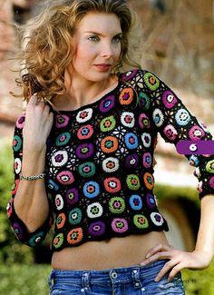 Chorrilho de ideias: Camisola rosetas em crochet
